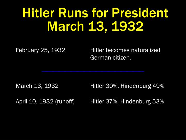 Hitler Runs for President  March 13, 1932