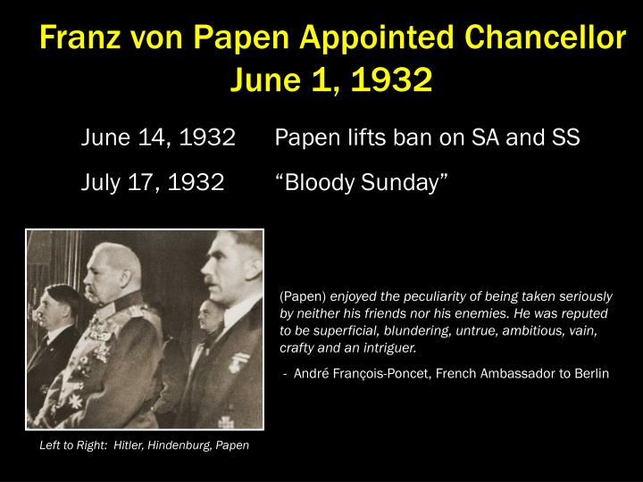 Franz von Papen Appointed Chancellor  June 1, 1932