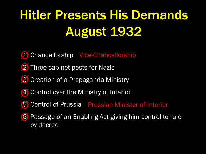 Hitler Presents His Demands  August 1932