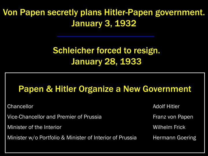 Von Papen secretly plans Hitler-Papen government.                                                 January 3, 1932