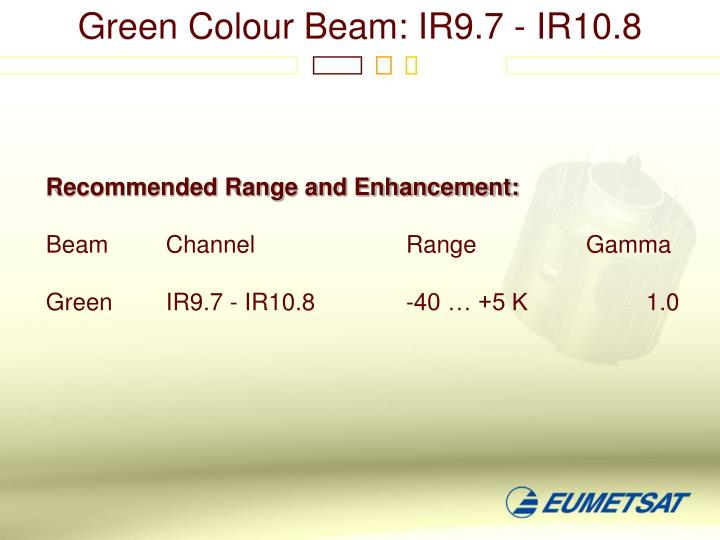 Green Colour Beam: IR9.7 - IR10.8