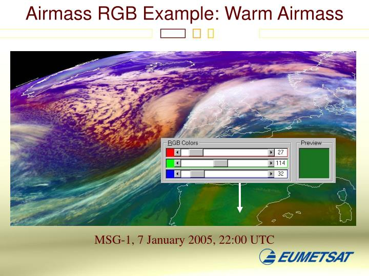 Airmass RGB Example: Warm Airmass