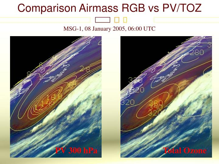 Comparison Airmass RGB vs PV/TOZ