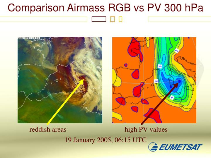 Comparison Airmass RGB vs PV 300 hPa