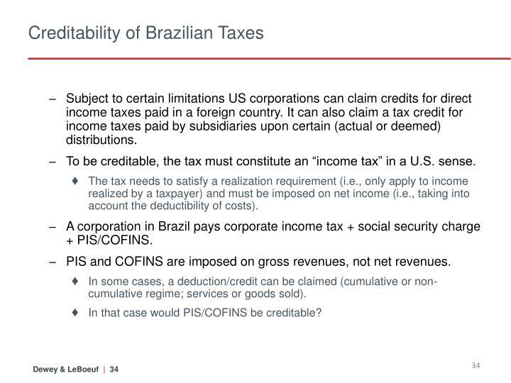 Creditability of Brazilian Taxes