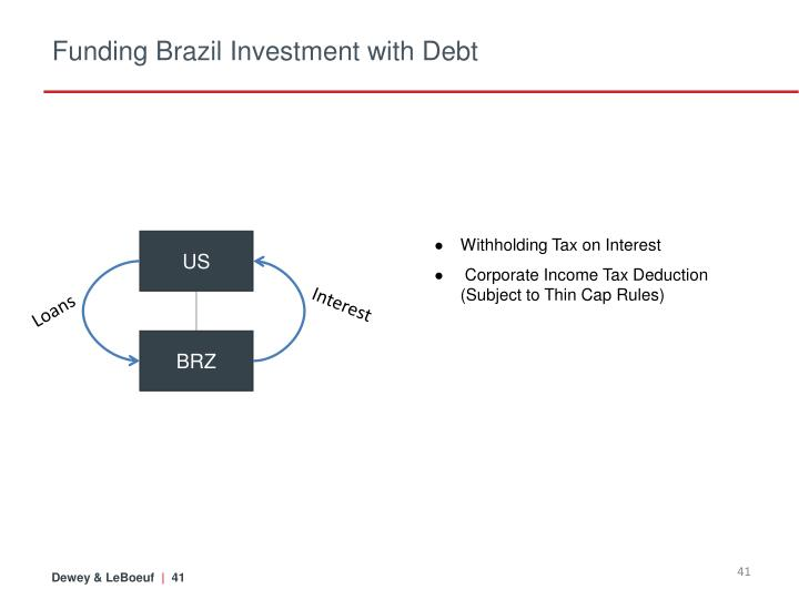 Funding Brazil Investment with Debt