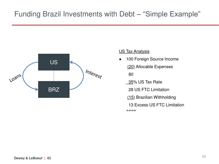 """Funding Brazil Investments with Debt – """"Simple Example"""""""