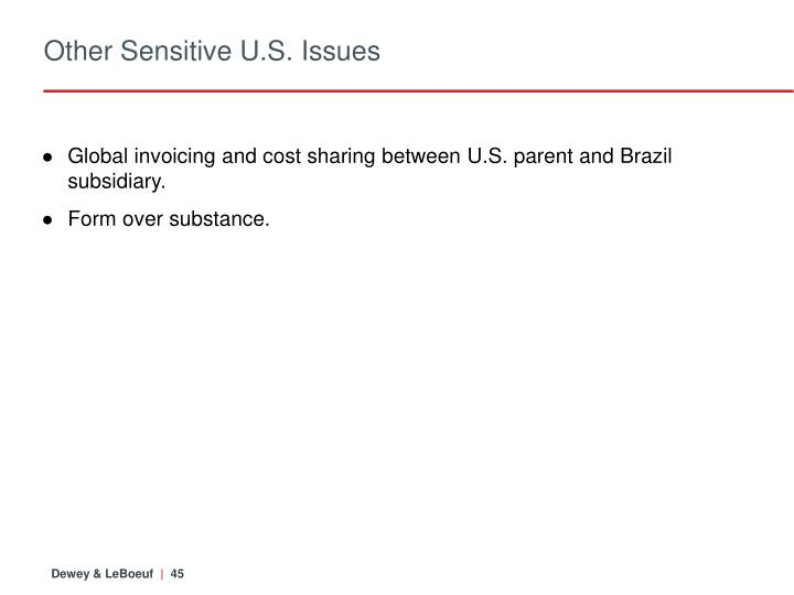 Other Sensitive U.S. Issues
