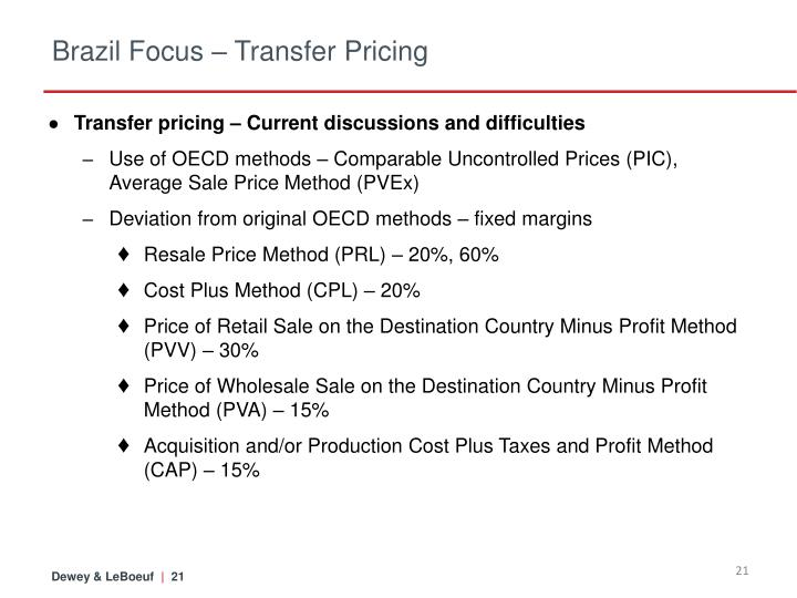 Brazil Focus – Transfer Pricing
