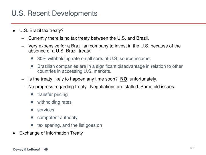 U.S. Recent Developments