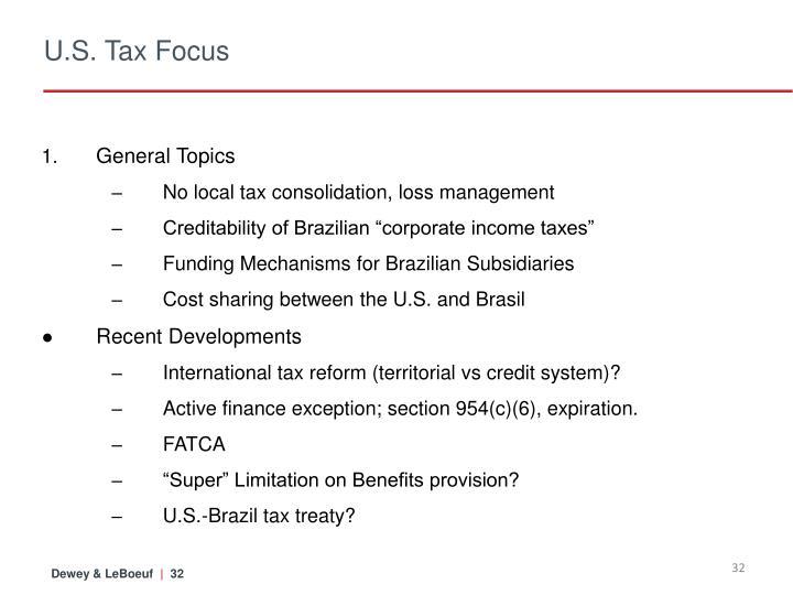 U.S. Tax Focus