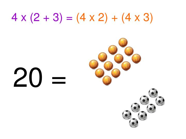 4 x (2 + 3) =