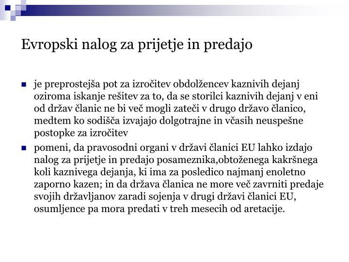 Evropski nalog za prijetje in predajo