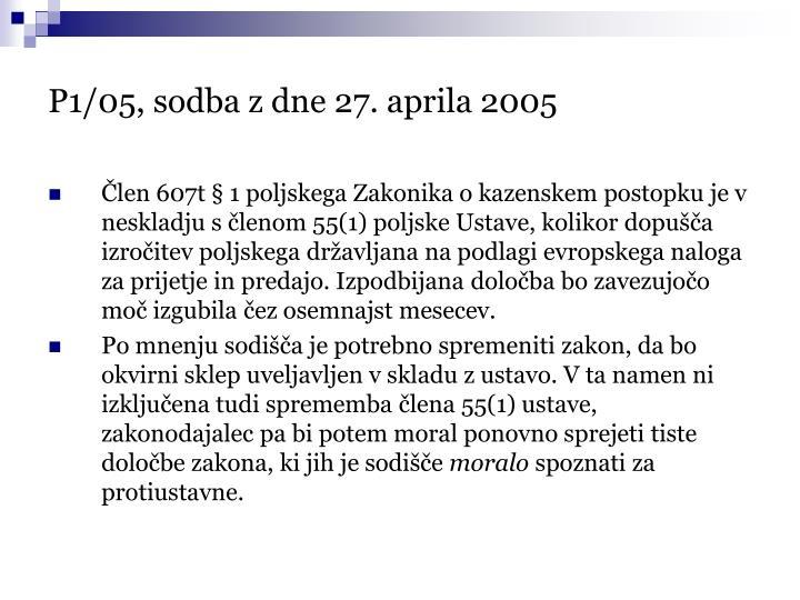 P1/05, sodba z dne 27. aprila 2005