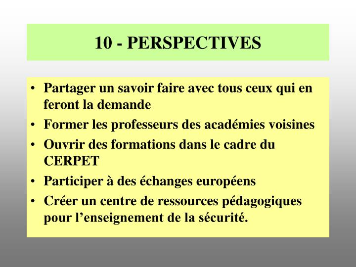 10 - PERSPECTIVES