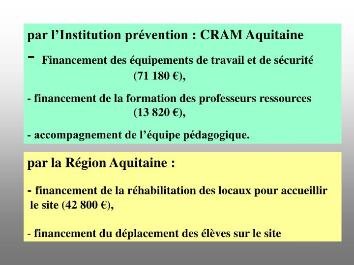 par l'Institution prévention : CRAM Aquitaine