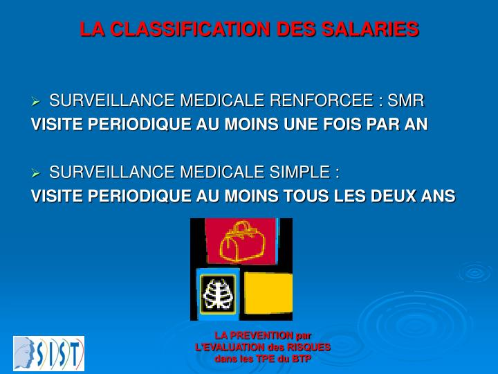 LA CLASSIFICATION DES SALARIES