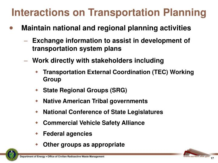 Interactions on Transportation Planning