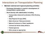 interactions on transportation planning