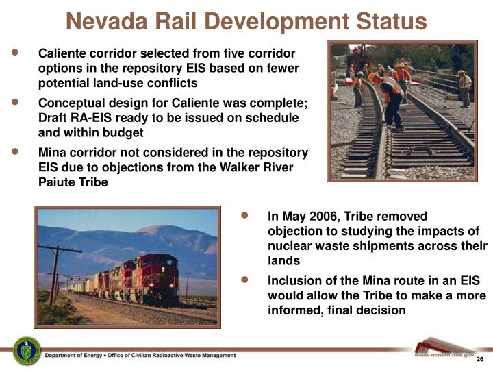 Nevada Rail Development Status