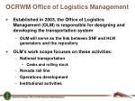 ocrwm office of logistics management