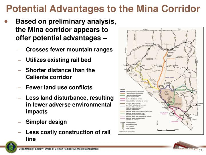 Potential Advantages to the Mina Corridor