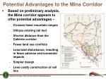 potential advantages to the mina corridor