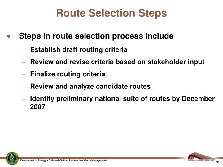 Route Selection Steps