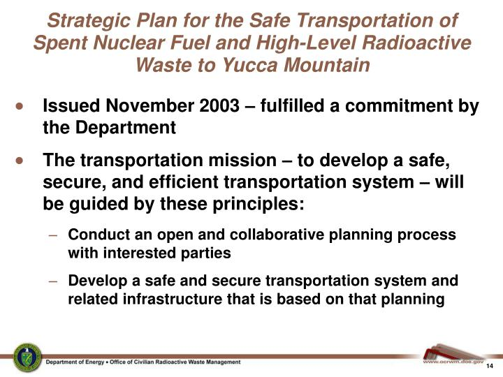 Strategic Plan for the Safe Transportation of