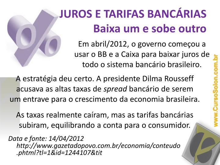 JUROS E TARIFAS BANCÁRIAS