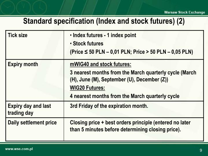 Standard specification (Index and stock futures) (2)
