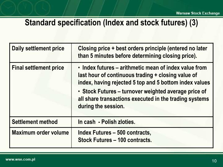 Standard specification (Index and stock futures) (3)