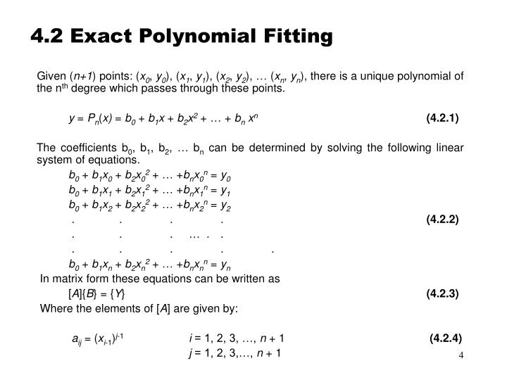 4.2 Exact Polynomial Fitting