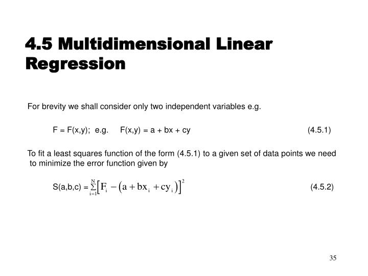 4.5 Multidimensional Linear Regression