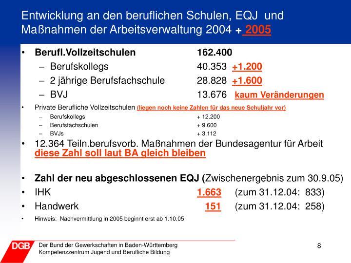 Entwicklung an den beruflichen Schulen, EQJ  und Maßnahmen der Arbeitsverwaltung 2004