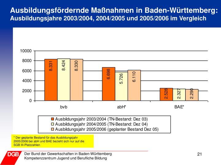Ausbildungsfördernde Maßnahmen in Baden-Württemberg: