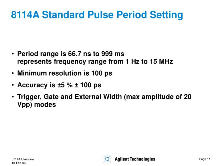 8114A Standard Pulse Period Setting