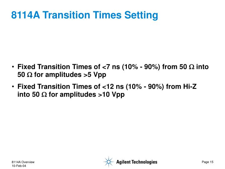 8114A Transition Times Setting