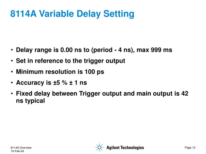 8114A Variable Delay Setting