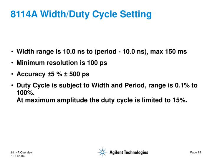 8114A Width/Duty Cycle Setting