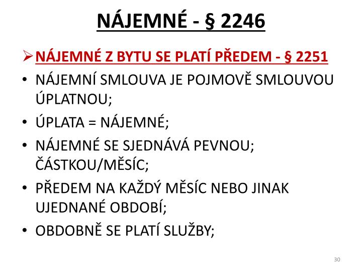NÁJEMNÉ - § 2246