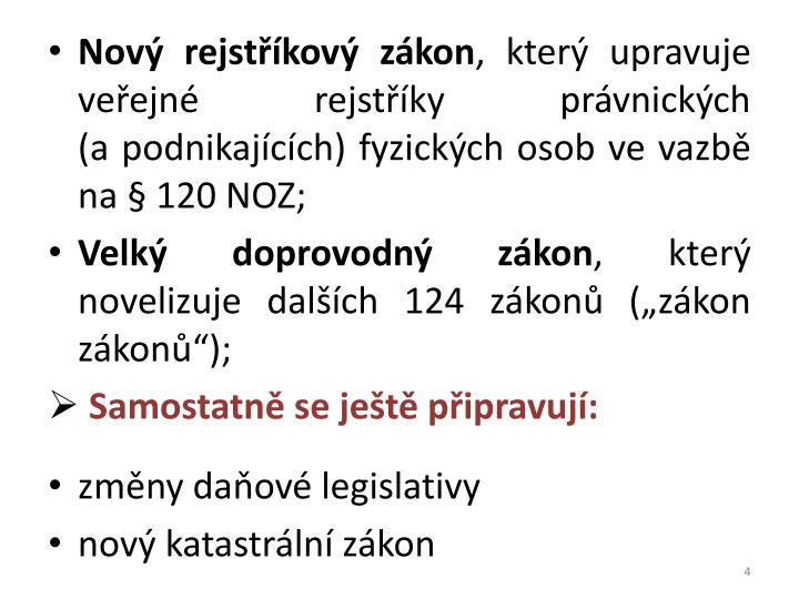 Nový rejstříkový zákon