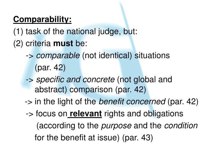 Comparability: