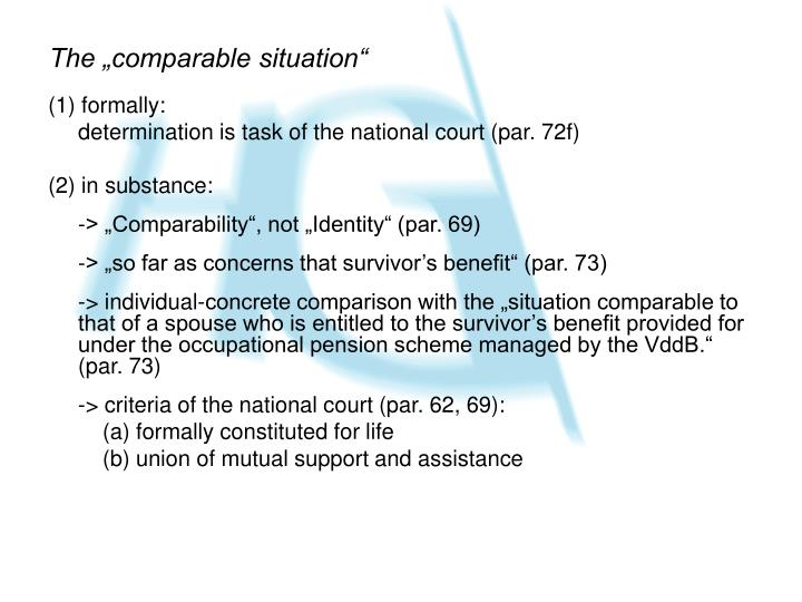 "The ""comparable situation"""