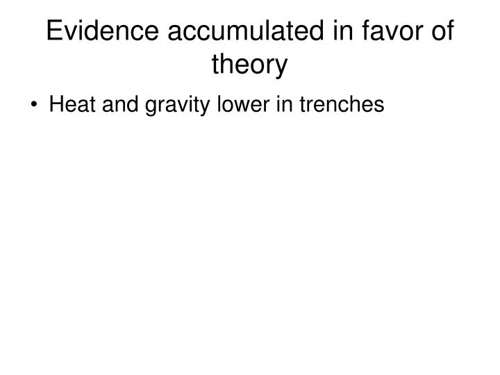 Evidence accumulated in favor of theory