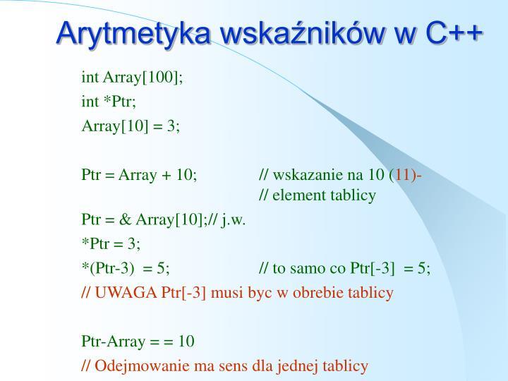 Arytmetyka wskaźników w C++