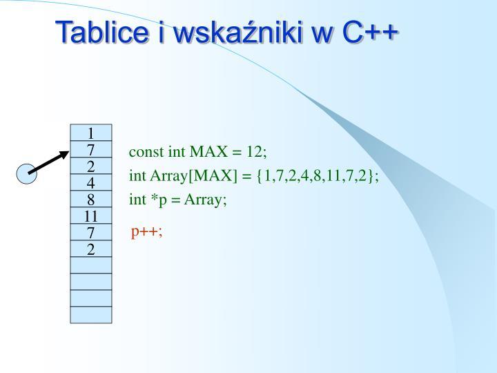 Tablice i wskaźniki w C++