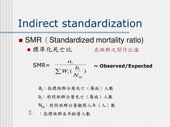 Indirect standardization