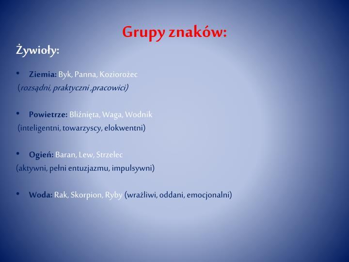 Grupy znaków: