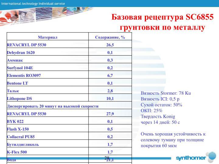 Базовая рецептура SC6855